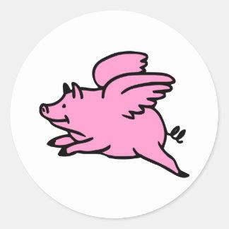 Cerdo rosado blanco del vuelo pegatina