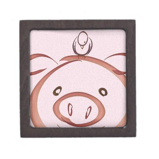 Cerdo rosado con el dibujo del pájaro caja de recuerdo de calidad