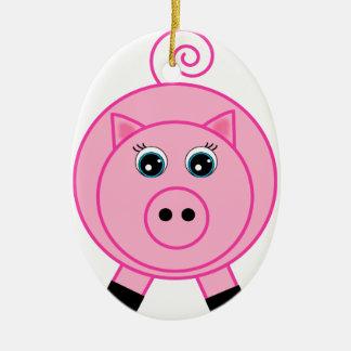 Cerdo rosado ornamentos de navidad