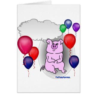 Cerdo rosado del fiesta que habla tarjetas