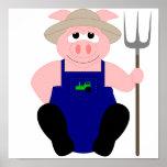Cerdo rosado del granjero poster