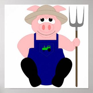 Cerdo rosado del granjero póster