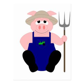 Cerdo rosado del granjero postales