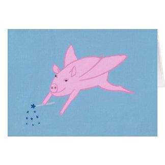 Cerdo rosado del vuelo que hace estrellas azules tarjeta pequeña