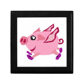 Cerdo rosado divertido del vuelo con las joyero cuadrado pequeño