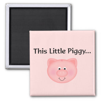 Cerdo rosado este pequeño guarro imán cuadrado