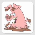 cerdo rosado feliz lindo en dibujo animado del fan calcomanías cuadradas personalizadas