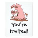 cerdo rosado feliz lindo en dibujo animado del invitación 10,8 x 13,9 cm