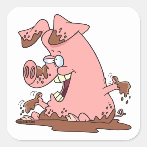 cerdo rosado feliz lindo en dibujo animado del pegatina cuadrada