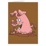 cerdo rosado feliz lindo en dibujo animado del tarjeta de felicitación