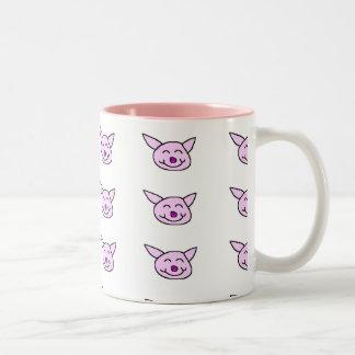 Cerdo rosado feliz taza de café de dos colores