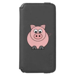 Cerdo rosado gordo funda billetera para iPhone 6 watson
