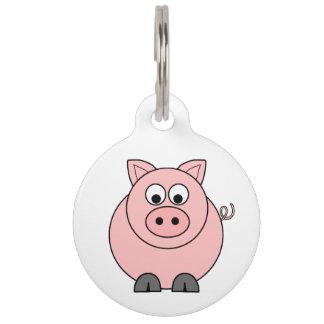 Cerdo rosado gordo identificador para mascota