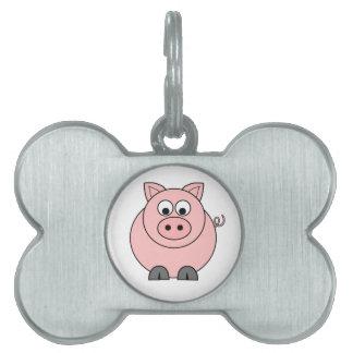 Cerdo rosado gordo placas de mascota