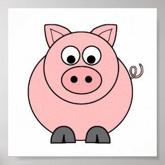 Cerdo rosado gordo póster