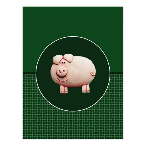 Cerdo rosado grande postal