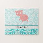 Cerdo rosado lindo; Damasco del trullo Puzzles