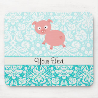 Cerdo rosado lindo; Damasco del trullo Alfombrilla De Ratón