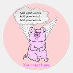 Cerdo rosado lindo del vuelo etiqueta redonda