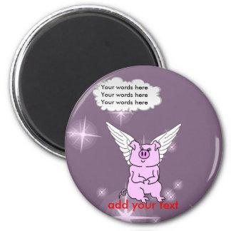 Cerdo rosado lindo del vuelo imán redondo 5 cm