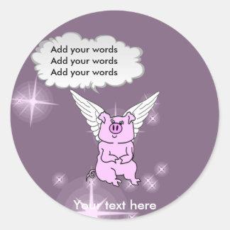 Cerdo rosado lindo del vuelo etiquetas
