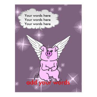 Cerdo rosado lindo del vuelo tarjeta postal