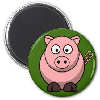 Cerdo rosado lindo en el imán del refrigerador de