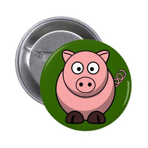 Cerdo rosado lindo en el Pin del botón de la hierb