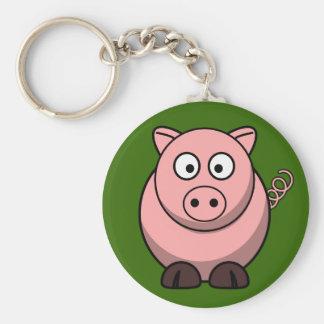 Cerdo rosado lindo en el Pin del botón de la hierb Llavero Redondo Tipo Pin