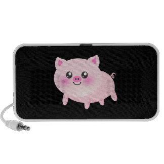 Cerdo rosado lindo en negro iPhone altavoces