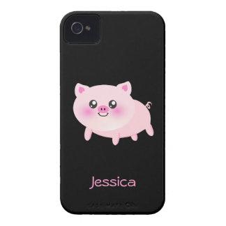 Cerdo rosado lindo en negro iPhone 4 protectores