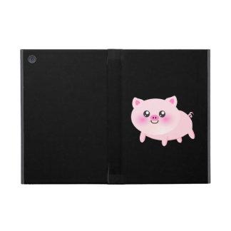 Cerdo rosado lindo en negro iPad mini fundas