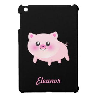 Cerdo rosado lindo en negro iPad mini funda