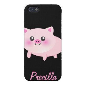 Cerdo rosado lindo en negro iPhone 5 carcasa