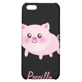 Cerdo rosado lindo en negro