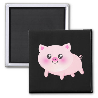Cerdo rosado lindo en negro imán de nevera