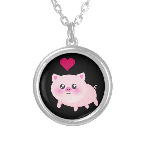 Cerdo rosado lindo en negro joyerias
