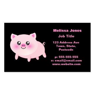 Cerdo rosado lindo en negro tarjetas de visita