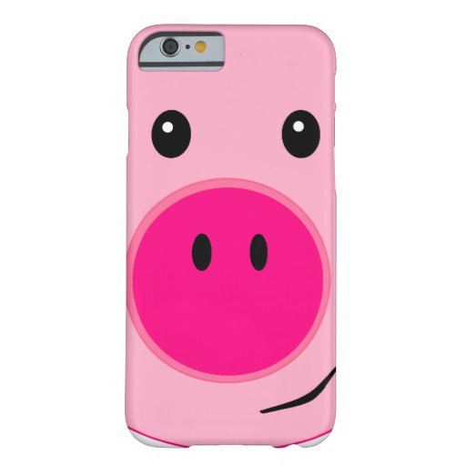 Cerdo rosado lindo funda de iPhone 6 barely there