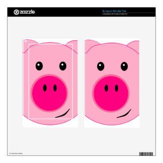 Cerdo rosado lindo kindle fire pegatinas skins