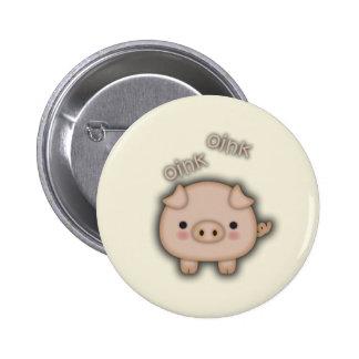 Cerdo rosado lindo Oink Pin Redondo De 2 Pulgadas