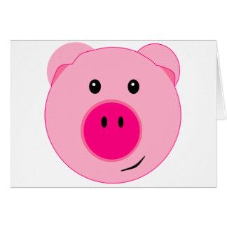 Cerdo rosado lindo felicitacion