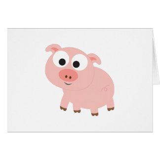 Cerdo rosado lindo tarjeta pequeña