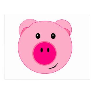 Cerdo rosado lindo tarjeta postal