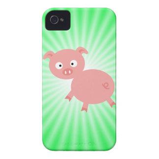 Cerdo rosado lindo; Verde iPhone 4 Case-Mate Carcasa