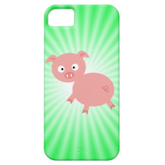 Cerdo rosado lindo; Verde iPhone 5 Case-Mate Protector