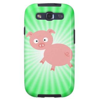 Cerdo rosado lindo; Verde Galaxy S3 Fundas