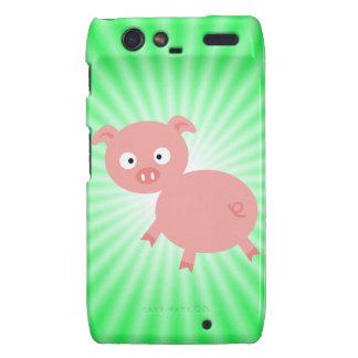 Cerdo rosado lindo; Verde Droid RAZR Fundas