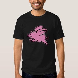 Cerdo rosado negro del vuelo poleras