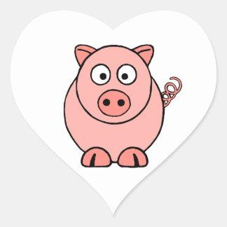 Cerdo rosado pegatina en forma de corazón